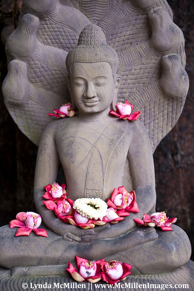 Sala flowers adorn the Buddha.  It is believed that the sala flower keeps people healthy and is especially revered by pregnant women to protect unborn babies.