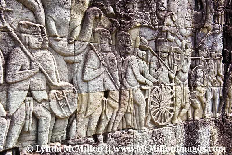 East gallery bas-relief of Bayon Temple depicts the Khmer army marching to war.