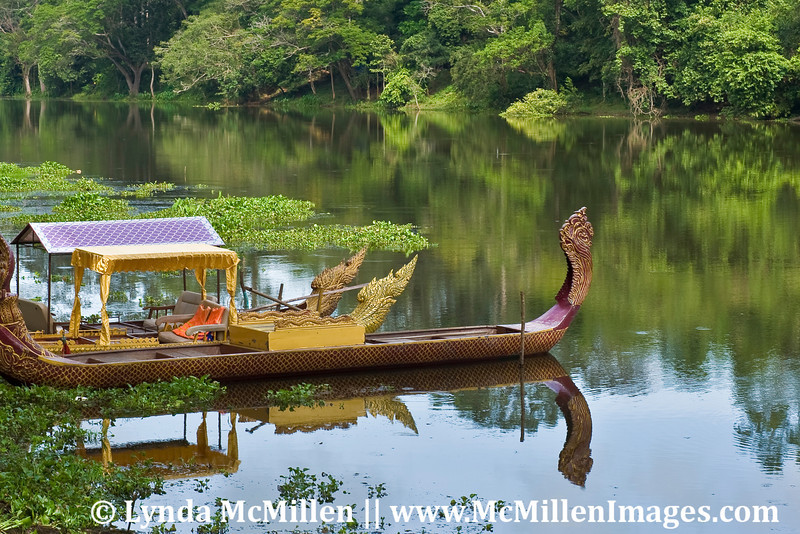 """Boat for royalty in Angkor Thom lake, full from the rainy season. The Angkor temples were """"discovered"""" by the Europeans in late 19th century."""