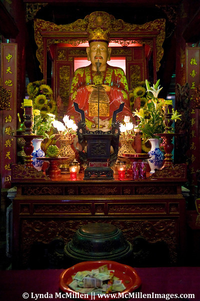 Confucius statue and altar in the sanctuary at Van Mieu, Temple of Literature.