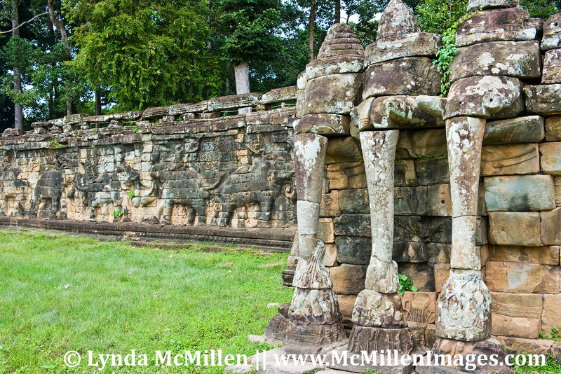 Terrace of Elephants was a 1,000 foot long terrace used by King Jayavarman VII as a reviewing platform for public ceremonies in the Royal Plaza.