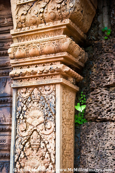 Built of pink sandstone, the temple of Bantey Srei is known for its intricate carvings which grace the entire structure.