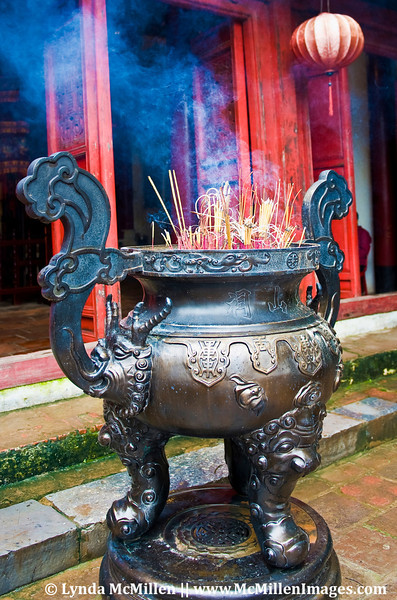 Censer and Burning Incense purifying surroundings at Den Ngoc Son.
