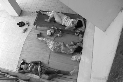 Families camped out wherever they could find space at a hospital in Rach Gia, southern Vietnam