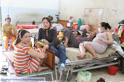 Many people, patients and their families, shared space at a hospital in Rach Gia, southern Vietnam