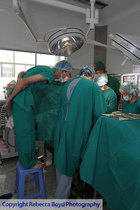 Vietnamese doctors watched a surgery in a hospital in Rach Gia, southern Vietnam