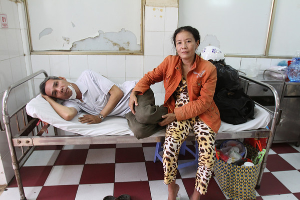 Family members were responsible for taking care of patients at a hospital in Rach Gia, southern Vietnam