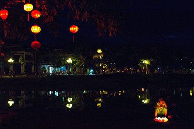 Beautiful lights on a river in Vietnam