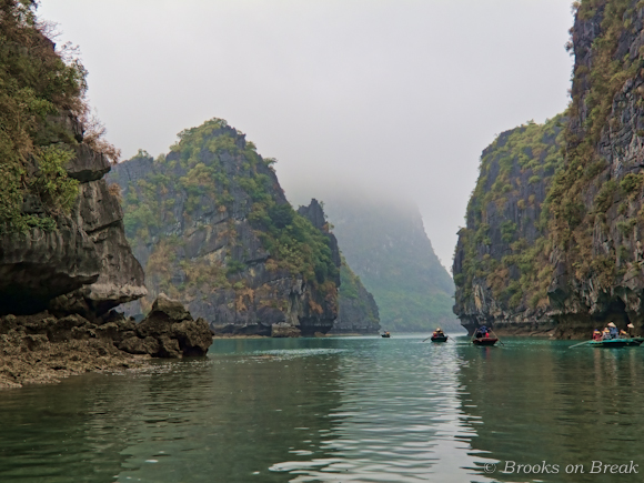 Kayaking between the limestone karsts, Halong Bay Vietnam
