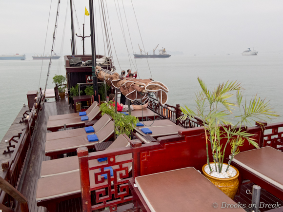 The sundeck of the Dragon's Pearl junk, Halong Bay, Vietnam