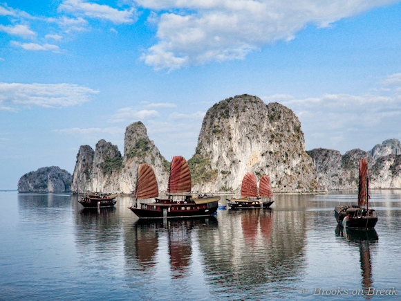 The beautiful limestone karsts of Halong Bay Vietnam