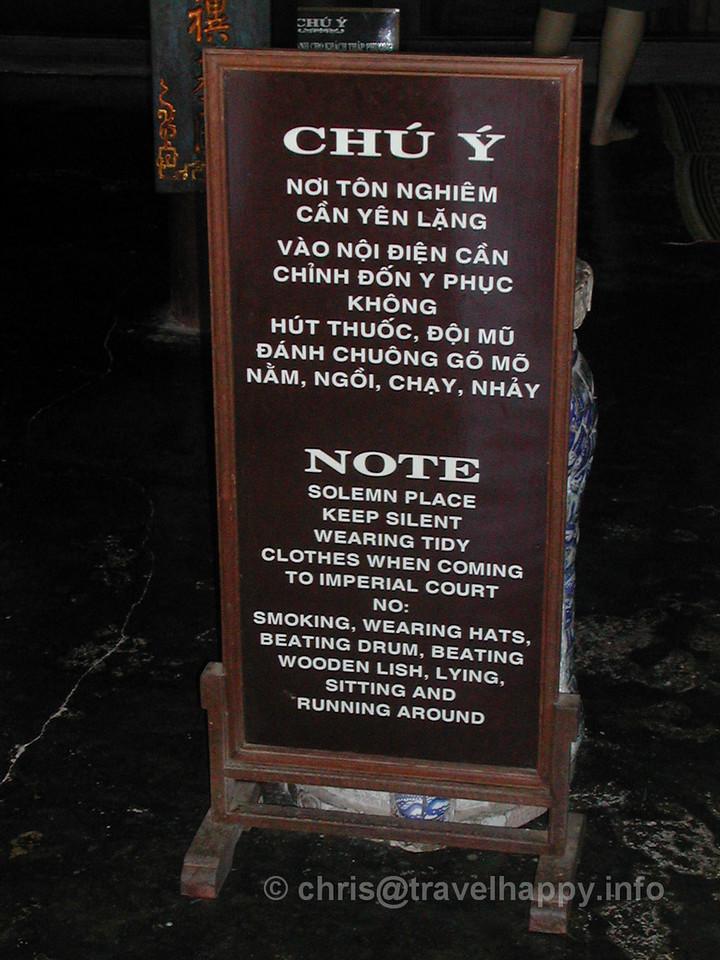 Temple Warning Sign, Hoi An, Vietnam