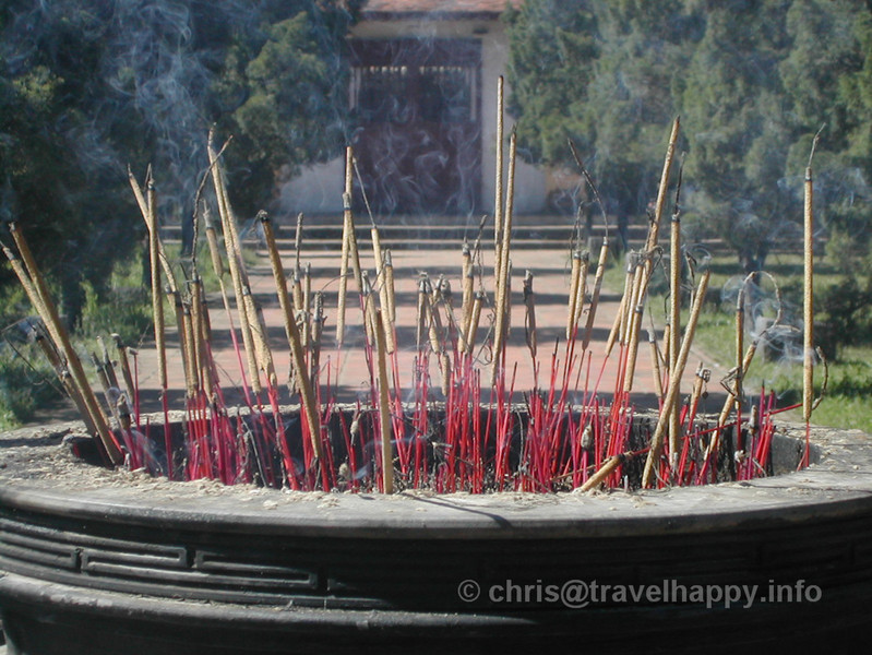 Burning incense, Emperor Tombs, Hue, Vietnam