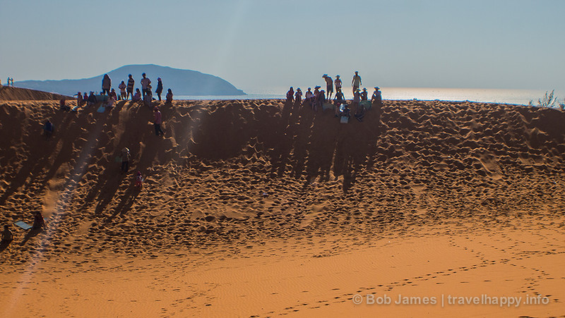 The red-sand dunes of Mui Ne, complete with ocean backdrop and plenty of tourists.