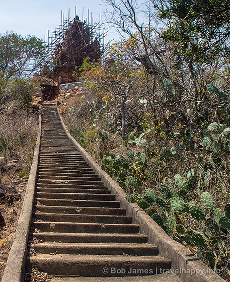 Steep stairs lead to a Cham tower in Phan Rang Thap Cham, Vietnam.