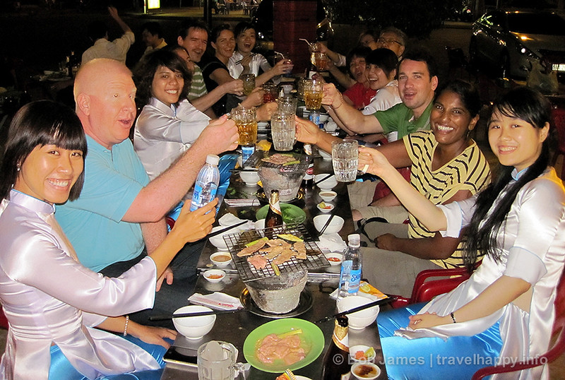 One of the XO Tours foodie feasts with the tour guides and fellow travellers