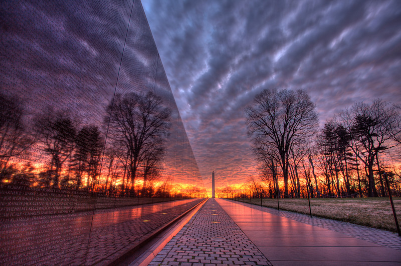 Vietnam Memorial Cloudy Sunrise