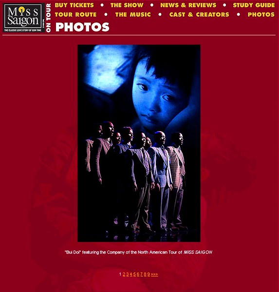 "Twenty of my photographs used in the Bui Doi scene ""Miss Saigon"" road show production."