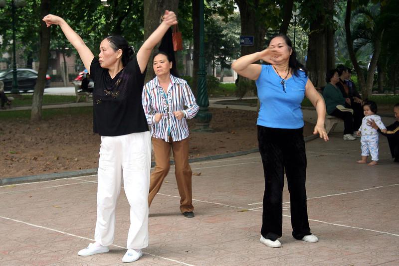 Morning dance at Hoam Kiem Lake, Hanoi