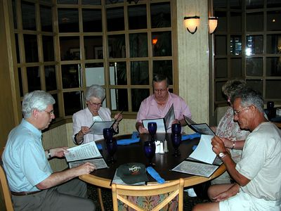 Dinner with Ann Herd at the 2005 Gold Star Mothers Convention in Dallas - #1. From left to right: Charles Alexander, Ann, Carl and Joyce, David Black