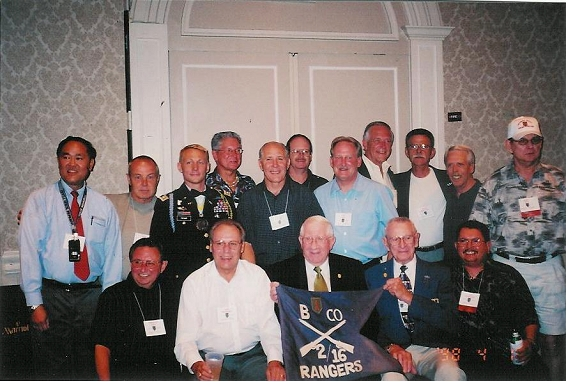group shot.seated l. to r. Ray Hahn, Mike  Hoagland, Jimmy Moore, John Long, Lee Sanchez.standing l. to r. Woody Harano, Jerry Gallant, ltc. From 16th inf., Rich Baron, Rick Airoldi, Dana Welsh,Dan Shirey, Dan McFee, Sonny Weinheim, Ken Nadwodny, Walter King - Ray Hahn photo