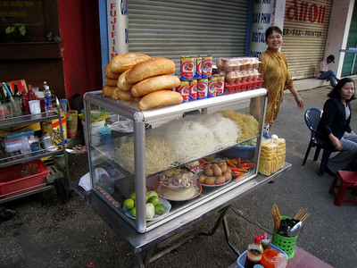 Food stand in Saigon, Vietnam, photographed in March 2008