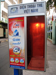 Telephone booth in Saigon, Vietnam, photographed in March 2008