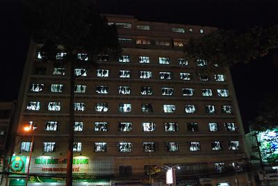 Saigon building at night!