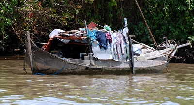 Living in a boat in the Mekong Delta, Vietnam