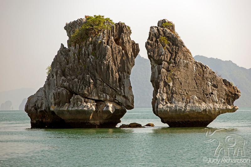 Kissing Rocks formation in Ha Long Bay, Vietnam