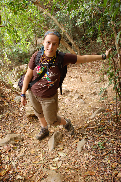 Emilie trekking on Cat Ba Island