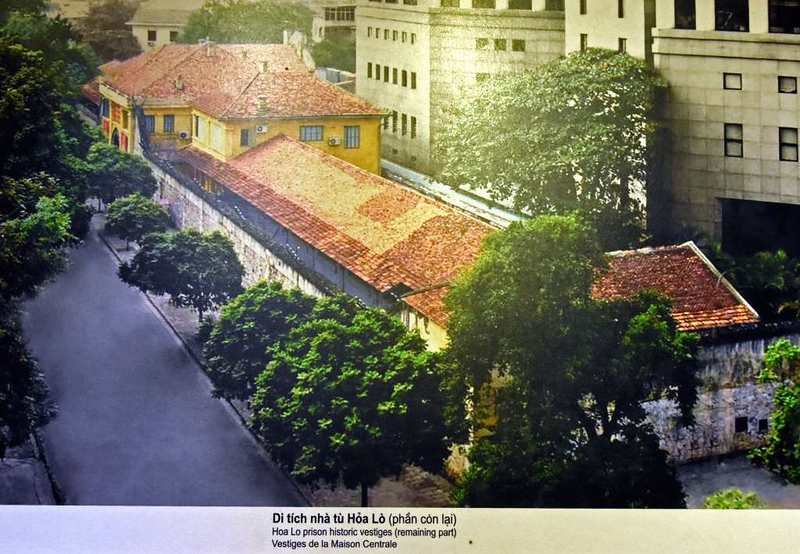 'Hanoi Hilton' prison museum, Hanoi, 7 March 2018 3.  Looking south west over Hoa Lo Street to the Hanoi Towers executive apartments which have been built on part of the prison site.