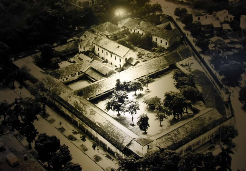 'Hanoi Hilton' prison museum, Hanoi, 7 March 2018 2.  This undated aerial view looks south east, with Hoa Lo Street running left to right in the distance.  The prison has since been demolished except for the buildings next to Hoa Lo.