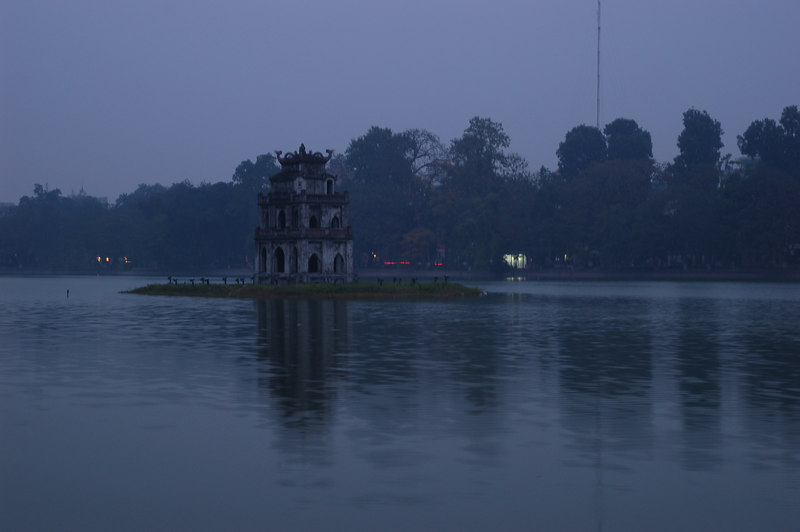 Waiting for the sun to rise over Hoan Kiem Lake after arriving in Hanoi at 4:30 a.m.
