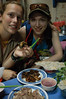 First piece of dog meat gripped firmly in Emilie's hand, do we look happy?