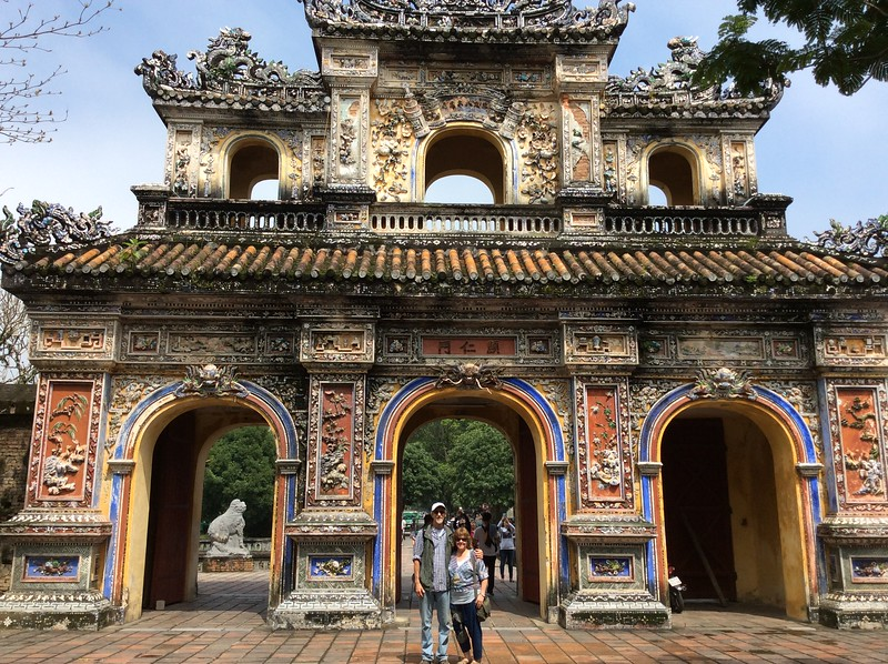 as a day trip from Hoi An, we visited Hue, about two hours up the coast.  It was the capitol of the Nguyen dynasty from 1802 until 1945.  It's location in central Vietnam made it a major target during the 20th century war, and it was the site of a major battle between the North Vietnamese and Americans in 1968.