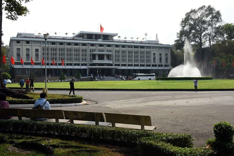 Independence Palace, Ho Chi Minh City, 13 March 2018 2.  The palace was completed as late as 1966.  It replaced a palace which had been bombed in 1962 by two dissident South Vietnamese pilots.  The present palace was bombed by a single pilot in 1975 shortly before Communist tanks burst into the palace grounds, bringing the Vietnam War to an end.
