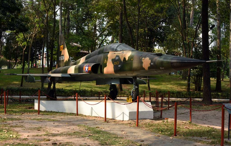 Former South Vietnamese Air Force Northrop F-5E 01638, Independence Palace, Ho Chi Minh City, 13 March 2018 1.  This is the aircraft which bombed the palace on 8 April 1975.