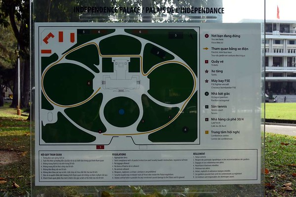 Independence Palace, Ho Chi Minh City, 13 March 2018 1.  A plan of the palace and its grounds.