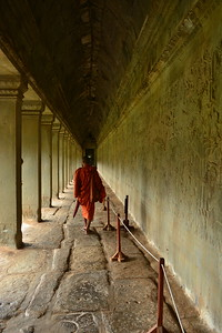 Monk in walkway