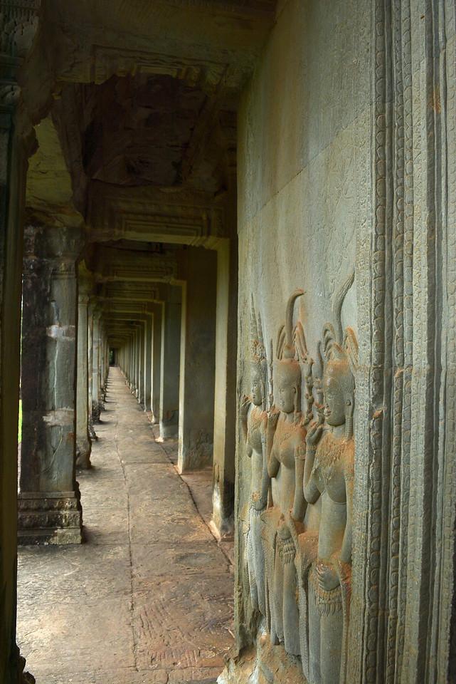 Carvings in temple walkway
