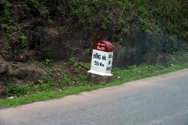 Dong Ha - Khe Sanh road, 9 March 2018 5.  French kilometer marker.