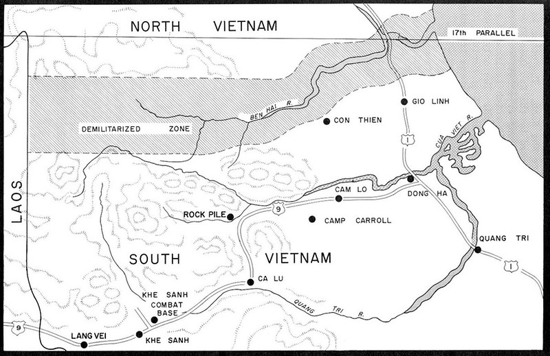 Khe Sanh area map.  Khe Sanh is in Quang Tri province in the far north of former South Vietnam, and is close to the border with Laos, through which the Ho Chi Minh trail network ran.