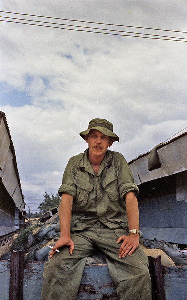 Me in boonie hat and no insignia.  We just grabbed a clean uniform out of a duffle bag and wore whatever fit (or didn't).  Toward the end, we all were issued our own fatigues with names and insignia.  The 196th made us stop wearing the boonie hat.  I still have that one.