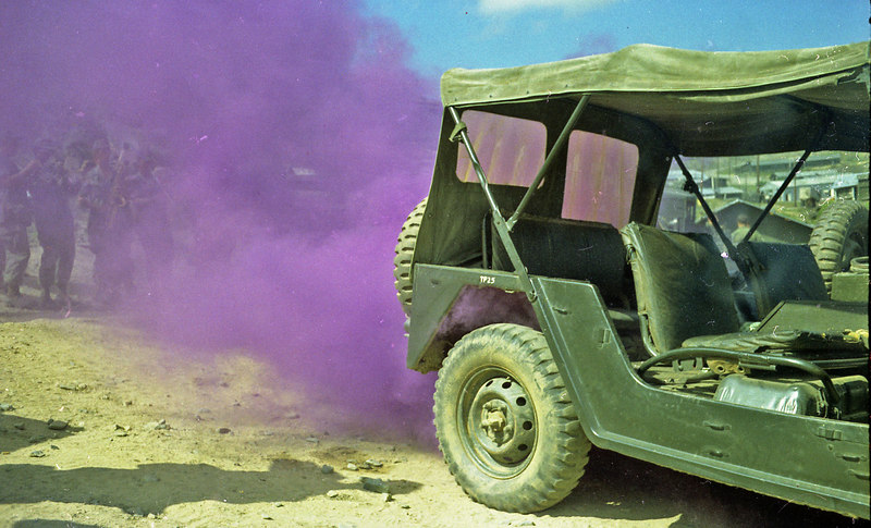 "Someone popped a smoke under this jeep so the band broke into ""Purple Haze""."
