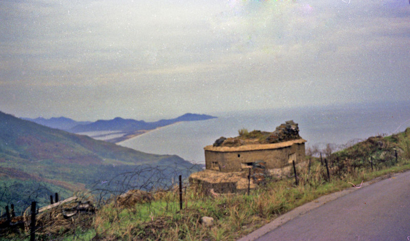 Old French fortification atop Hai Van pass looking back toward Lang Co.