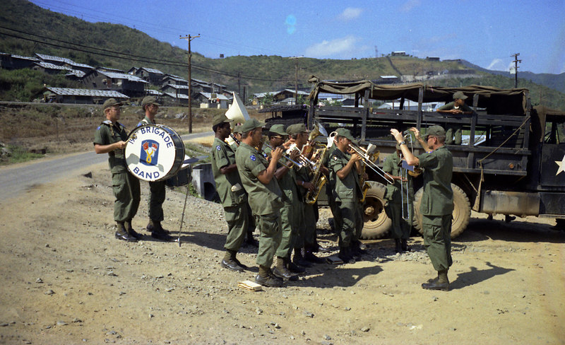 After our long stint on the ridgeline, it was decided that we would walk back down rather than be trucked.  It was an extremely hot day and we were annoyed.  But when we arrived we found the 196th brigade band and cold beer waiting for us.  We didn't even know the 196th had a band.