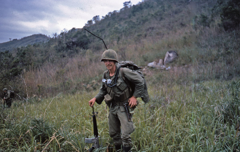 Me and my stuff.  I carried a PRC-25 radio most of the time I was there.  That survival knife was not issued to grunts like me but, when I first got to Company D, someone who was DEROSing out gave it to me.  He said it had been passed down from previous grunts.  When I left, I gave it to Sgt. Theobald.  Bill Doyle's pictures include one of him with it.