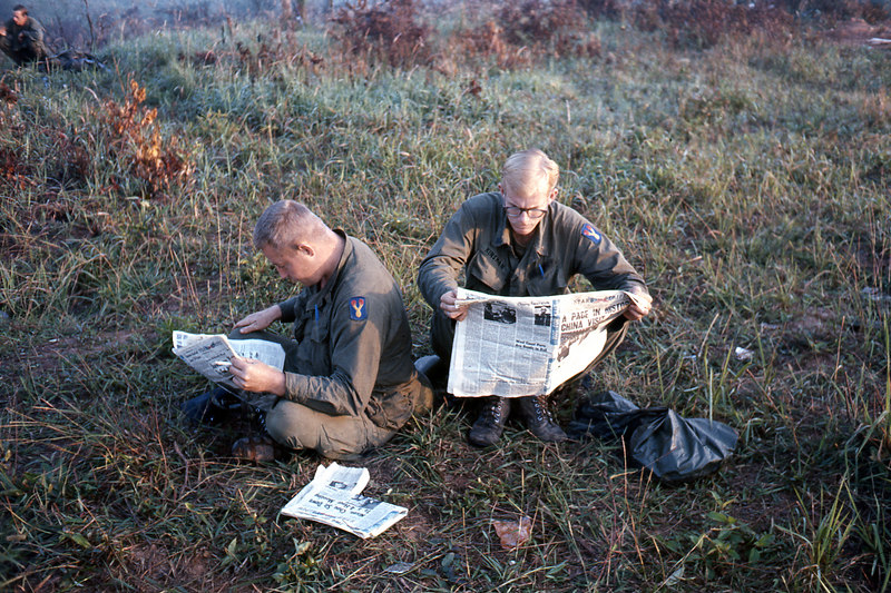 "Catching up on the news after a resupply.  Doc's headline read ""A Page in History.  China visit ...""  Nixon's visit to china was started February 21, 1972."