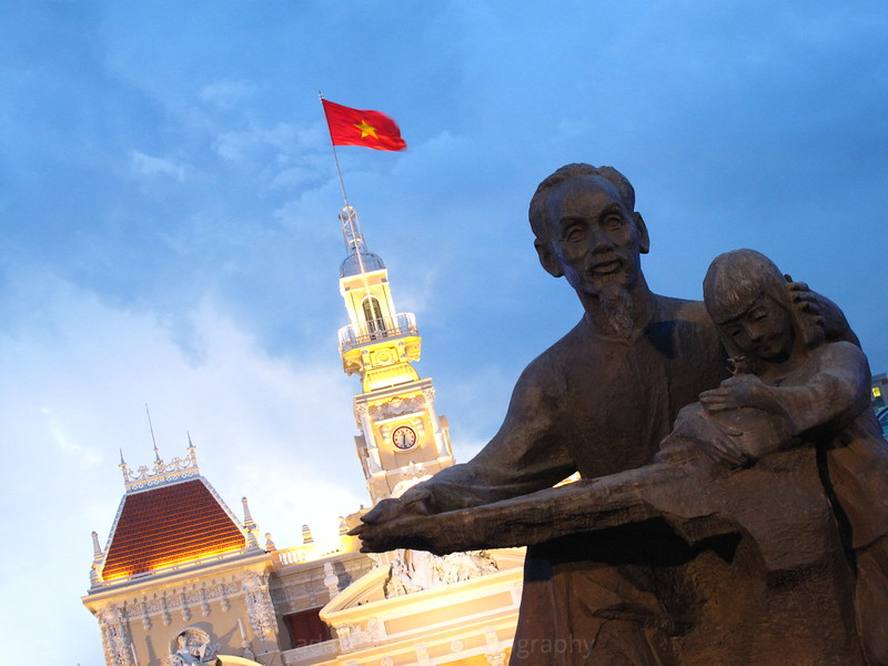 Ho Chi Ming and the People's Committee Building, Saigon, Vietnma